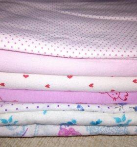 Новые пелёнки трикотажные + постельное бельё