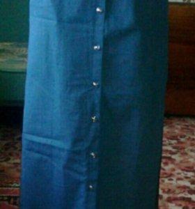 Юбка из тонкого джинса в пол. На завышеной талии