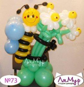 Пчела с цветами