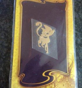 Золотая наклейка кошка