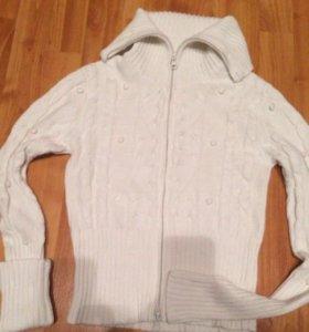 Кофта свитер кардиган белый на молнии