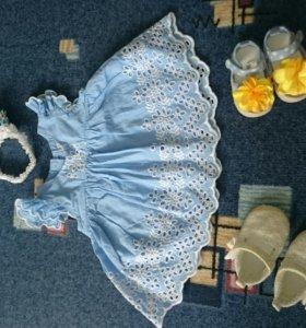 Туника- платье next, пинетки и повязка 👑