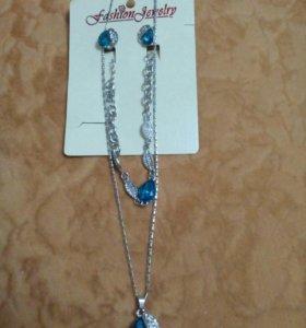 Набор цепочка с подвеской браслет серьги