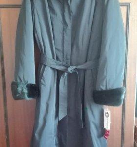 Новое зимние пальто с норкой, подклад кролик