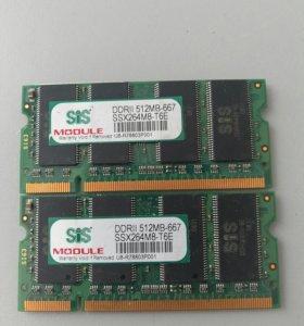 Память DDR 2 II 512Mb+512 Mb