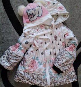 Курточка+шапочка для девочки 3-4 годика