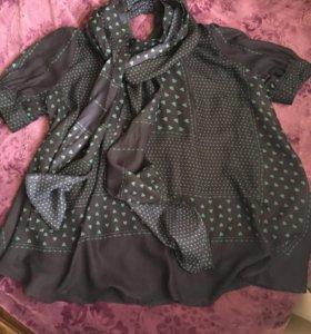 Блуза с трикотажем