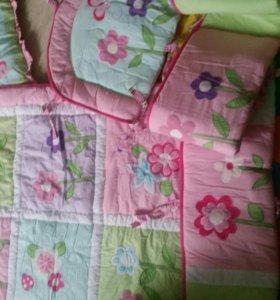 Бортики и одеяло в кроватку доя принцессы