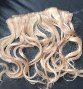 Волосы на заколках, трессы, блонд