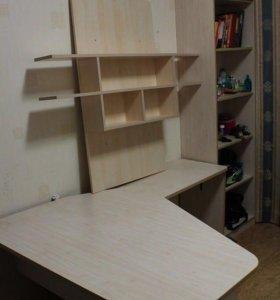 Шкаф, кровать, стеллаж, стол, полки - комплект