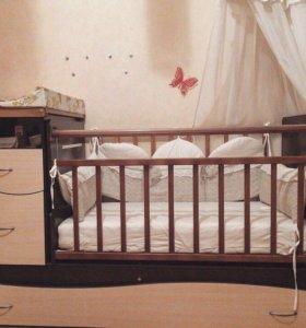 Кроватка - трансформер.не спали.с матрацом