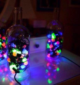 Светильник гирлянда в бутылке