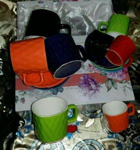 Чайные чашки с блюдцами+ кофейные в подарок