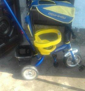 Детский велосипед с тростью