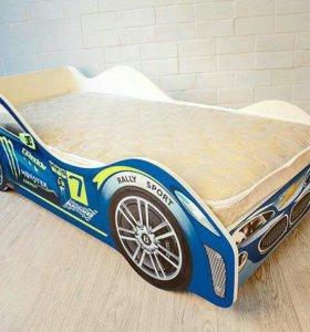Кровать-машинка синяя