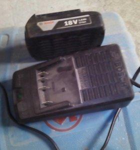 Аккомулятор с зарядкой на шуруповерт Бош 18 вольт