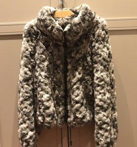 Вязанная куртка из меха кролика