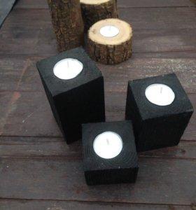 Подсвечники из дерева (набор 3 шт)