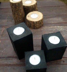 Подсвечники из дерева (3 шт/комплект)