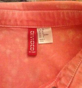 Джинсовая розовая рубашка