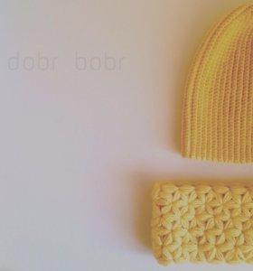 Детский комплект шапка бини+снуд