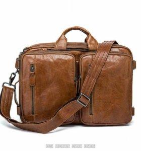 Мужской кожаный портфель-сумка рюкзак дорожная