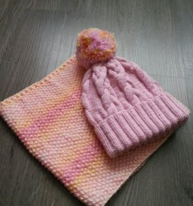 Комплект шапка вязаная с снудом