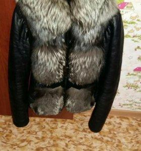 Куртка нат.кожа с мехом чернобурки