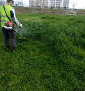 Расчистка участков, покос травы.