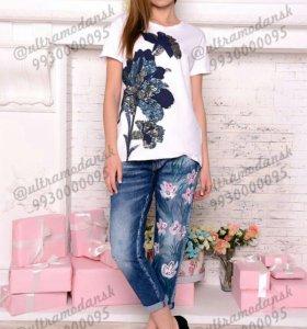 Новые джинсы AMN +футболка Турция