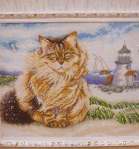 """""""Кот моряк """". Размер в багете 44*54 см."""