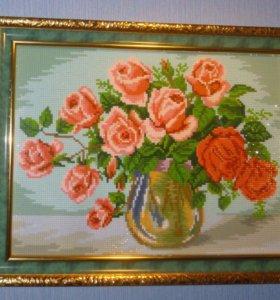 """"""" Розы"""". Размер в багете 35*45 см."""