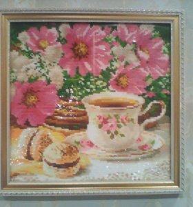 """""""Чашка чая и цветы"""" Размер в багете 32*32 см."""