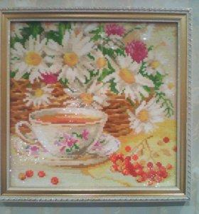 """""""Чашка чая и ромашки"""" Размер в багете 32*32 см."""