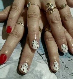 Покрытие шеллак, маникюр+укрепление ногтей Узловая