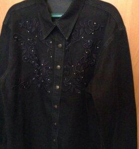 Рубашка джинсовая с вышивкойр 52-54 р 170р новая