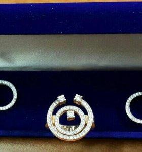Золотой набор серьги и кольцо