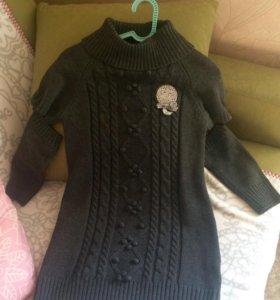 Тёплое вязаное платье Born 120 размер б/у