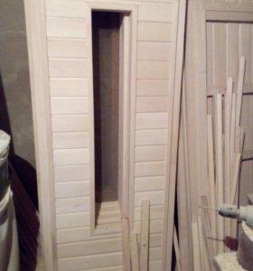 Двери банные,из липы.иработа ручная из фанеры для