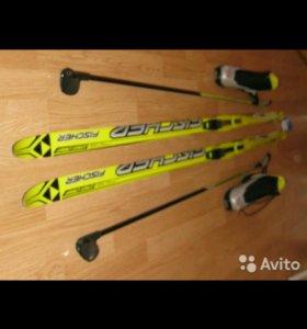 Лыжи+ботинки 35 размера+палки 140 р.