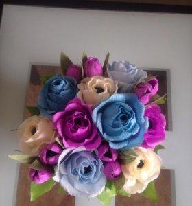 цветы ручной работы с конфетой