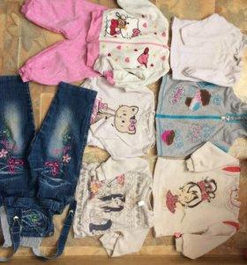Толстовки до 1,5 лет; джинсы 1,5 года, костюм год