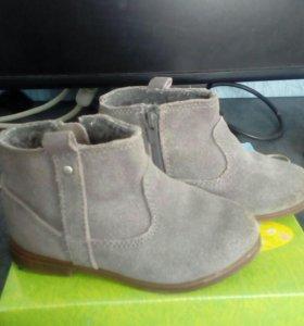 Ботинки замшевые zara, ботинки кожаные kapika