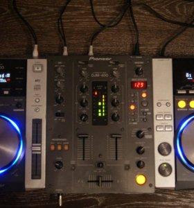 Pioneer CDJ-200 (2шт)+ Pioneer DJM-400