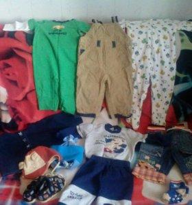 Одежда фирменная пакетом на 1-1,5 года на мальчика