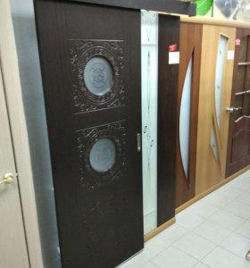Межкомнатная дверь купе Луна М.Орех