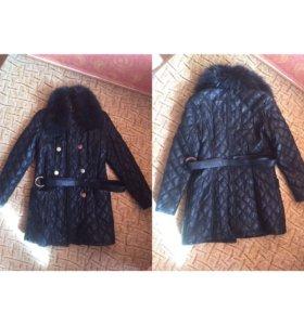 Пальто натуральный воротник