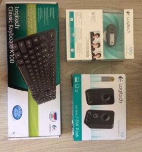 Веб-камера, колонки и клавиатура Logitech