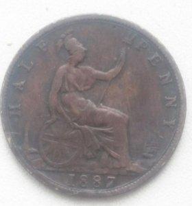 Монета 1/2 пенни Великобритании 1887 Г.