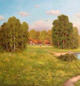 Деревенский пейзаж маслом на холсте 40*80см.